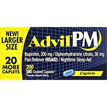 Advil PM Pain Reliever / Nighttime Sleep Aid Caplet, 200mg Ibuprofen, 38mg Diphenhydramine Pack of 1 (200 count) TB^DC