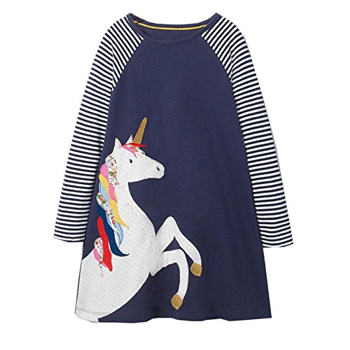 Girls Cotton Long Sleeve Casual Cartoon Appliques Striped Jersey Dresses (6T, Unicorn)