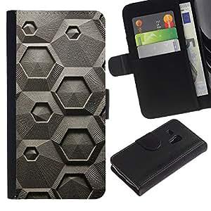 Samsung Galaxy S3 MINI / i8190 (Not For Galaxy S3) Modelo colorido cuero carpeta tirón caso cubierta piel Holster Funda protección - Abstract Grey Art Pattern Hexagon