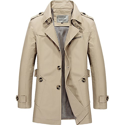 - DAVID.ANN Men's Windbreaker Notch Lapel Single Breasted Coat,Light Khaki,Medium