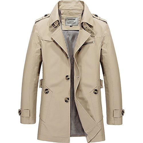 DAVID.ANN Men's Windbreaker Notch Lapel Single Breasted Coat,Light Khaki,Large