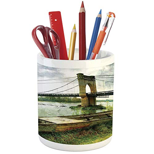Pencil Pen Holder,Landscape,Printed Ceramic Pencil Pen Holder for Desk Office Accessory,Bridge and Old Boat on Riverside Distressed Paint Style Nostalgic City Picture