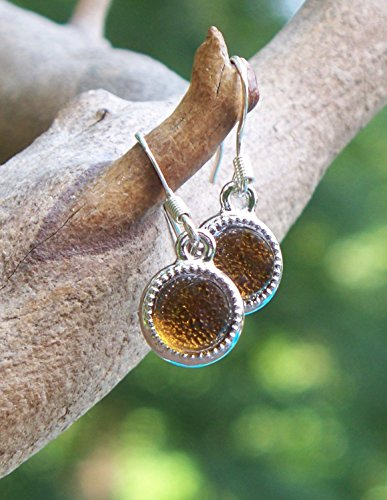 (Recycled Vintage Amber Clorox Bottle Glass Color Dot Earrings)