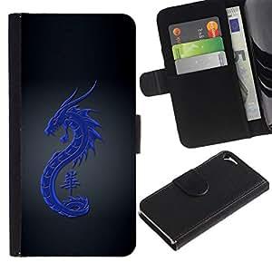 All Phone Most Case / Oferta Especial Cáscara Funda de cuero Monedero Cubierta de proteccion Caso / Wallet Case for Apple Iphone 5 / 5S // Tribal Blue Dragon
