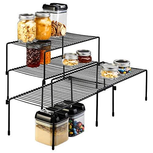Smartor Cabinet Storage Shelf Rack 4 PACK, Expandable Stackable Kitchen Counter Shelf Organizer, Multipurpose…