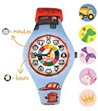 Firefighter Preschool Watch - The Only Analog Kids Watch Preschoolers Understand! Quality Teaching time Silicone Watch with Glow-in-The-Dark Dial & Japan Movement