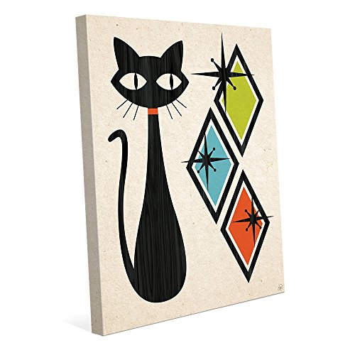Retro Cat With Diamonds Green Blue And Orange: Mid-Century Retro Modern Geometric Shapes Abstract Painting Drawing Illustration Wall Art Print 51JKLWFoEyL