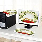 Auraisehome Computer dust Cover Frame with White and Red Roses and Stylized Wedding