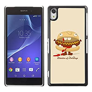 Qstar Arte & diseño plástico duro Fundas Cover Cubre Hard Case Cover para SONY Xperia Z2 / D6502 / D6503 / D6543 / L50W / L50t / L50u ( Hot Dog Sandwich Junk Food Animation Art)
