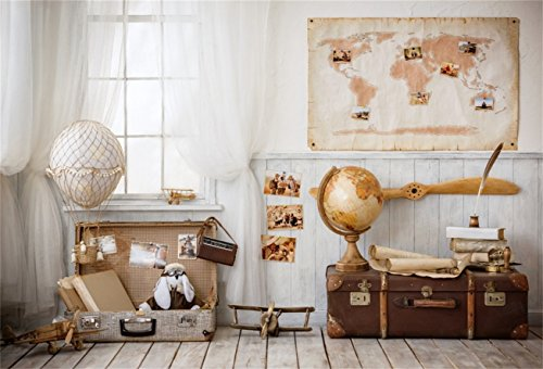 AOFOTO 7x5ft Flying Dream Backdrops Pilot Map Photo Shoot Background Hot Air Balloon Globe Suitcase Aircraft Modle Photography Studio Props Boy Kid Child Artistic Portrait Indoor Curtain Video Drop (Air Shot Hot 6')