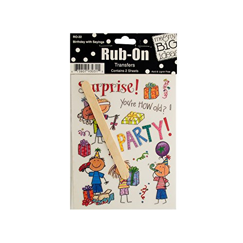 123-Wholesale - Set of 48 Birthday with Sayings Rub-On Transfers - Scrapbooking Rub-ons by 123-Wholesale