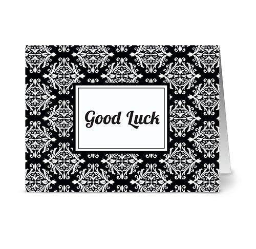 Luck Jet - Modern Royal Damask 'Good Luck' Jet.Black - 24 Cards - Blank Cards w/ Grey Envelopes Included