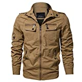 WULFUL Men's Cotton Military Jackets Stand Collar Casual Outdoor Windbreaker Coat
