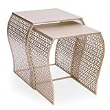 Joveco Modern Designed Accent Metal Nesting Stackable Gold Glass Coffee Table End Table, Set of 2