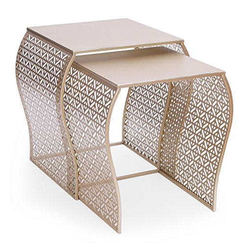Joveco Modern Designed Accent Metal Nesting Stackable Gold Glass Coffee Table End Table, Set of (Curved Top Nesting Tables)