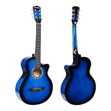 JJOnlineStore – Guitarra acústica de color azul, tamaño de 3/4, 97 cm
