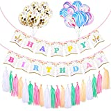 YoungRich Party Decor Set Including 10 PCS Colorful Cloud Balloons 5 PCS Confetti Balloons 1 PCS Pink Unicorn Bunting 20 PCS Paper Tassels for Wedding Christmas Birthday Themed Party