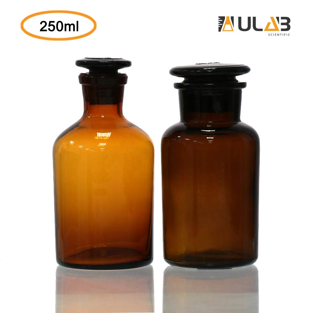 ULAB Scientific Reagent Bottle Set, 1pc of Wide Mouth Bottle, 1pc of Narrow Mouth Bottle, with Ground-in Glass Frosted Stopper, Amber Glass, Vol. 250ml, URB1011 by ULAB