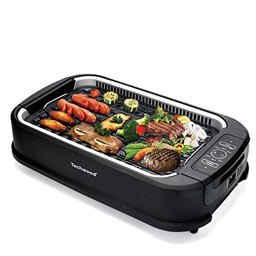 Techwood Indoor Smokeless Grill with Advanced Smoke Extractor Technology, Adjustable Temperature Control