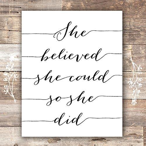 She Believed She Could So She Did Art Print - Unframed - - Daughter Framed