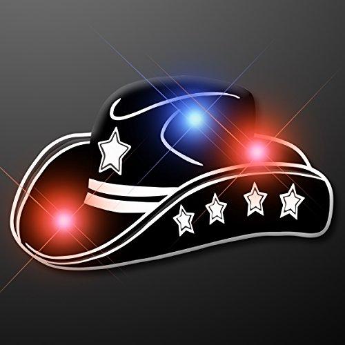 Black Cowboy Hat Light Up Flashing LED Lapel Pins (Set of ()