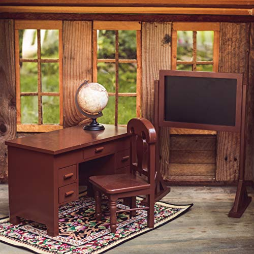 The Queens Treasures Vintage Style Wooden School Teachers Desk & Chair Doll Furniture & Accessories Compatible with 18 Inch American Girl Drawers Open & Close, Real Style Globe and Chalkboard Too!