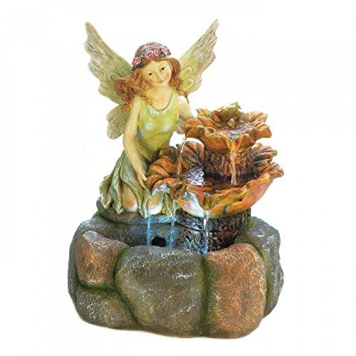 "20"" High Cute Angel Statue Garden Water Fountain Outdoor Dec"