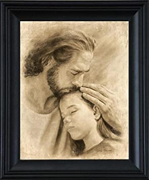David Bowman My Child 21 x25 Framed Wall Art Print Jesus Christ Kissing Child Religious Spiritual Christian Fine Art 21 x25 Framed
