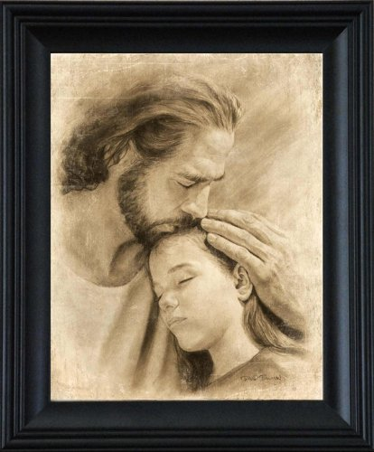 My Child 21''x25'' Framed Wall Art Print Jesus Christ Kissing Child by David Bowman Religious Spiritual Christian Fine Art (21''x25'' Framed) by David Bowman