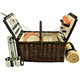 Picnic at Ascot 713BC-DO Surrey Willow Picnic Basket with Blanket and Coffee Set, Brown Wicker/Diamond Orange