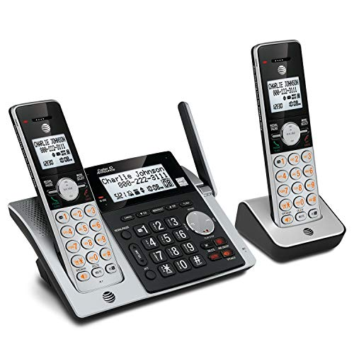 AT&T CL83203 DECT 6.0 Expandable Cordless Phone with Answering System, Caller ID/Call Waiting and Base Speakerphone, 2 Handsets, Silver/Black ()