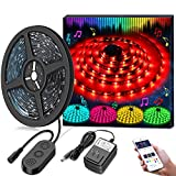 MINGER MusicPro 16.4ft RGB LED Strip Lights, APP Control Multi Color Flexible Tape Lights, Waterproof Strip Lighting Kit Color Changing by Sync to Music, 12V Power Supply Included