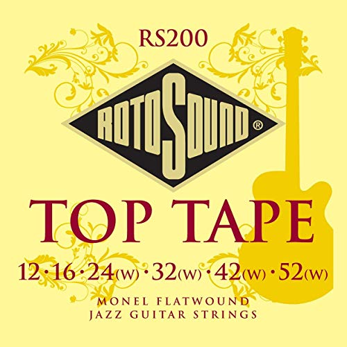 - ROTOSOUND RS200 Top Tape Monel Flatwound Electric Guitar String (12 16 24 32 42 52)