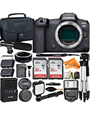 Canon EOS R5 Mirrorless Digital Camera (Body Only) 45MP Full Frame + 2 Pack SanDisk 32GB Card + Mount Adapter + Microphone + Case + Tripod + Slave Flash + ZeeTech Accessory Bundle (22pc Bundle)