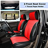 280208 Black/red-2 Front Car Seat Cover Cushions Leather Like Vinyl + Sun Visor Tissue Paper Holder Clip, Compatible to HYUNDAI ACCENT SONATA HYBRID SONATA PLUG-IN TUCSON FUEL CELL 2018 2017-2007