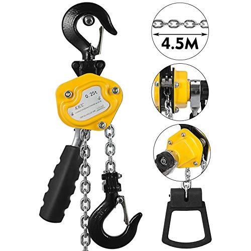 Mophorn 0.5T Lever Block Chain Hoist 4.5M 15Ft Chain Hoist Alloy Steel G80 Chain Ratchet Lever Hoist with Hook (0.5T 15FT)