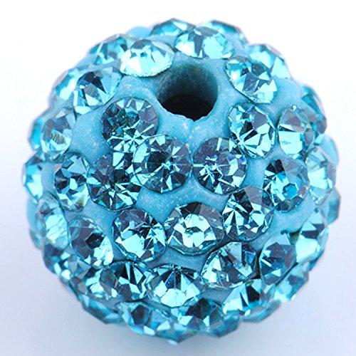 ystal Disco Ball Clay Beads fit Shamballa Jewelry (20pcs, 10mm, Aquamarine Blue) (Marine Sampler)