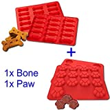 GYBest 2 Pack Food Grade Large Mats Trays, Dog Pets Bones Paws Silicone Baking Molds, Bake Dog Treats For Pets, Kids, Dog-lovers, Kitchen Tips