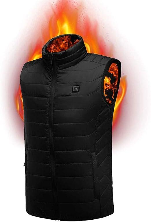 2XL KOBWA Electric Heated Vest Men Women Waistcoat Gilet Heated Coat Clothes Winter Adjustable 5V USB Charging Outdoor Sport Warm Insulated Vest