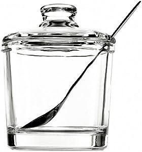 Classic Clear Glass Sugar Bowl Set with Lid Serving Spoon Salt Pot Pepper Storage Jar Seasoning Pot Dispenser Container Sugar Box Condiment Spice Racks Holder for Home Kitchen