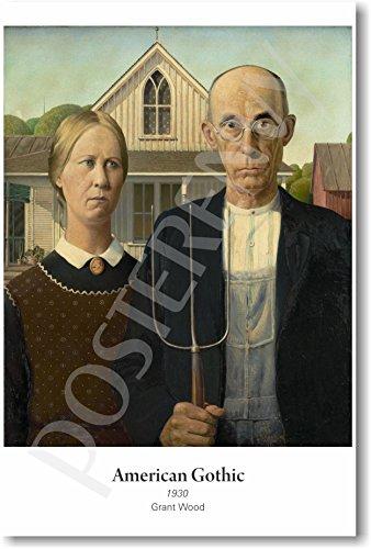 Study Fine Art Oil (American Gothic 1930 - Grant Wood - NEW Fine Arts Poster)
