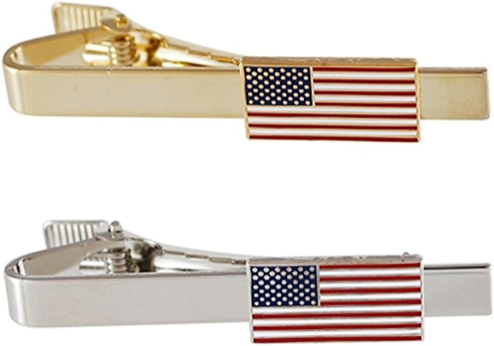 Official American Flag Tie Bar (Gold + Silver Tie Bar Set)