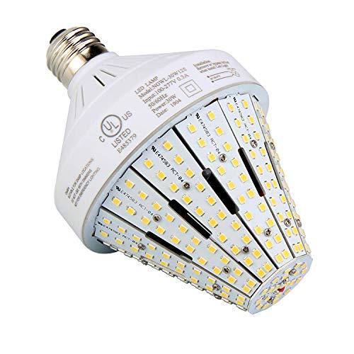 NUOGUAN 30 Watt LED Corn Light Bulb (300W Incandescent Equivalent) 4332lm 6000K Cool White 100-277V AC Standard E26 Base for Home, Garage, Storage, Acorn Post, Porch, Garden Use
