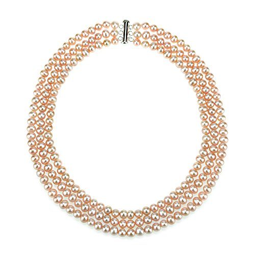 Row Pink Freshwater Pearls (Sterling Silver 7-7.5mm 3-rows Pink Freshwater Cultured High Luster Pearl Necklace, 20