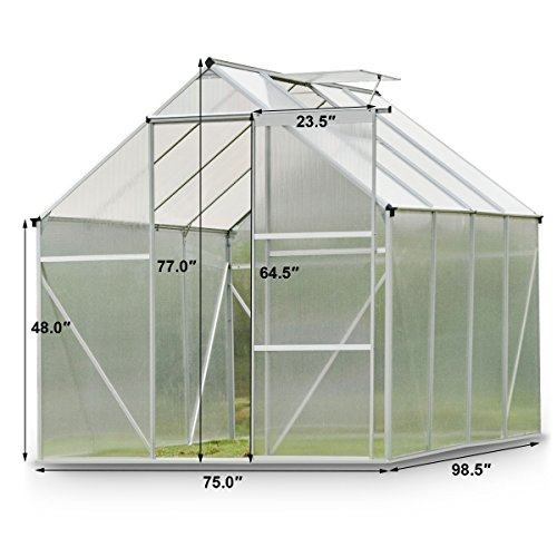 Giantex Walk-in Greenhouse Plant Growing Tent Large Green Garden Hot House with Adjustable Roof Vent, Rain Gutters Heavy Duty Polycarbonate Aluminum Frame (6.2'L x 8.2'D) by Giantex (Image #6)