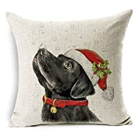 Acamifashion Christmas Dog Santa Claus Reindeer Cushion Cover Throw Pillow Case Home Sofa Decors (#10 Santa Hat Black Labrador)