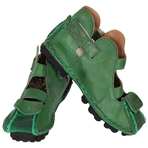 Piani 1 Stile In Verde Sandali Matchlife Pelle Donne Vintage IRz8q