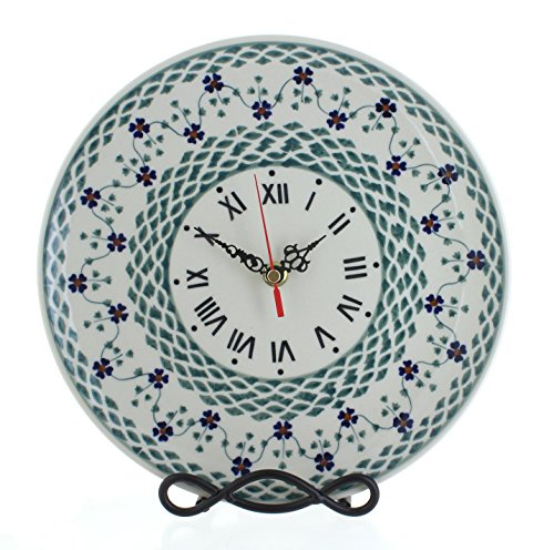 Blue Rose Polish Pottery Sage Floral Clock