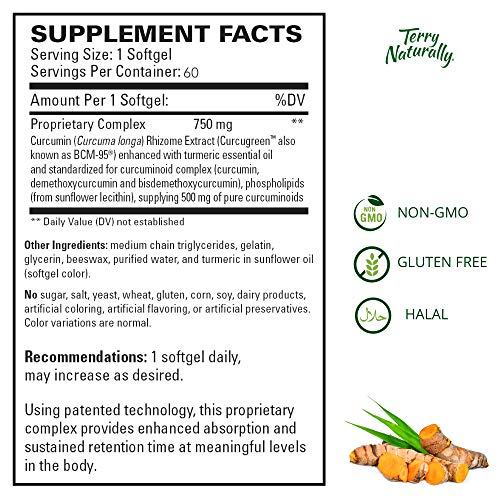 Terry Naturally CuraMed 750 mg - 60 Softgels - Superior Absorption BCM-95 Curcumin Supplement, Promotes Healthy Inflammation Response - Non-GMO, Gluten-Free, Halal - 60 Servings by Terry Naturally (Image #5)