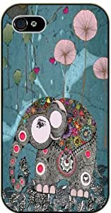 Elephant, grey and flowers - iPhone 4 / 4s black plastic case / Animals and Nature